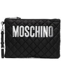 Moschino キルティング ロゴ クラッチバッグ - ブラック