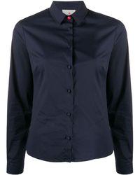 Peuterey Contrasting Button Slim-fit Shirt - Blue