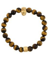 Northskull Tiger eye skull bracelet - Marrone