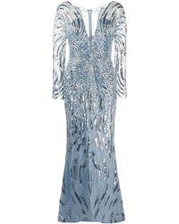 Zuhair Murad Robe longue brodée de sequins à col v - Bleu