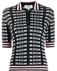 MSGM Рубашка-поло Вязки Интарсия С Логотипом - Белый