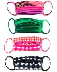 Amir Slama Striped Print Face Masks (pack Of 4) - Green