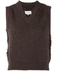 Maison Margiela Wool Mix Jumper Vest - Brown