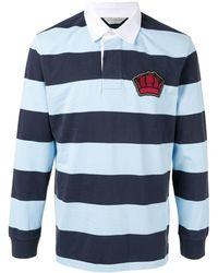 Gieves & Hawkes ストライプ ポロシャツ - ブルー