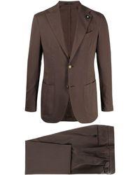 Lardini テーラード シングルスーツ - ブラウン