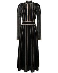 Sandro Embroidered Long-sleeve Flared Dress - Black