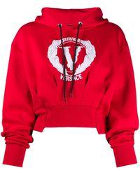 Versace Укороченное Худи С Вышитым Логотипом - Красный