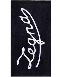 Ermenegildo Zegna Strandlaken Met Logo - Blauw