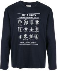Kent & Curwen Top Authentic British Heritage con stampa - Blu