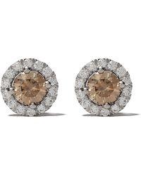 De Beers 18kt White Gold Aura Fancy Coloured Diamond Stud Earrings - Metallic
