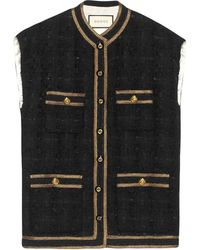 Gucci Tweed Sleeveless Vest With Decorative Trim - Grey