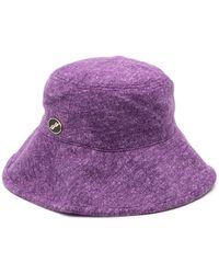 we11done Sombrero de pescador con logo bordado - Morado