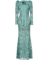 Elie Saab Robe longue à ornements brodés - Vert