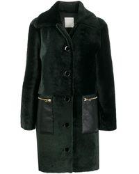 Sandro 'Rafaeli' Mantel aus Faux Fur - Grün