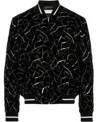 Saint Laurent Embroidered Bomber Jacket - Black
