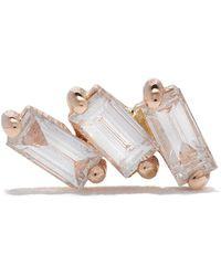 Kismet by Milka Orecchino a bottone in oro rosa 14kt con tre diamanti - Metallizzato