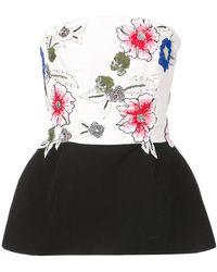 Monique Lhuillier - Floral Print Peplum Boob Tube - Lyst