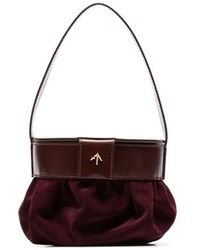 MANU Atelier Burgundy Pouched Suede And Leather Shoulder Bag - Red