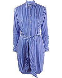 Polo Ralph Lauren Striped Poplin Shirt Dress - Blue