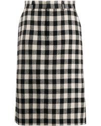 AMI ギンガムチェック スカート - ブラック