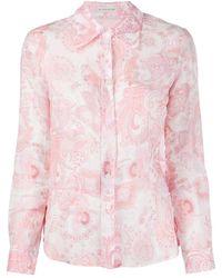 Etro Paisley-print Versized-collar Shirt - Pink