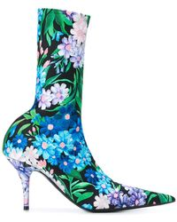 Balenciaga - Floral Print Knife Booties - Lyst