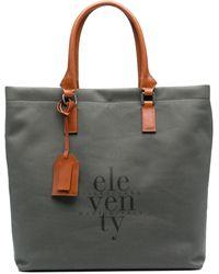 Eleventy Logo-print Tote Bag - Green