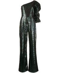 Saloni Lily One-shoulder Sequin Jumpsuit - Black
