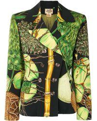Hermès Блейзер С Принтом - Зеленый