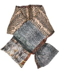 Pierre Louis Mascia Quilted Animal Print Scarf - Brown