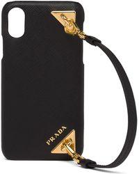Prada Iphone X/xs Hoes Met Detail Van Saffiano Leer - Zwart