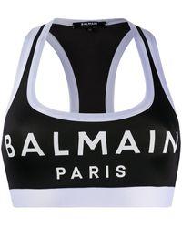 Balmain Printed Stretch-jersey Sports Bra - Black