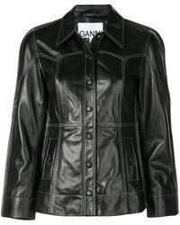Ganni Veste ajustée en cuir - Noir