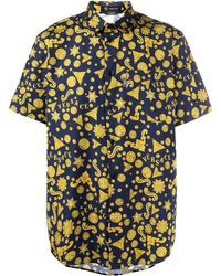 Versace Barocco Western Print Short-sleeved Shirt - Blue