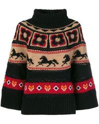 Alberta Ferretti マルチパターン セーター - ブラック