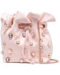 Sophia Webster Emmie Crystal Drawstring Bag - Pink