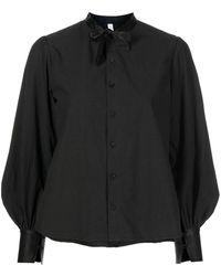 Renli Su リボン ラッフルシャツ - ブラック