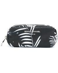 Sonia Rykiel Palm Print Makeup Bag - Black