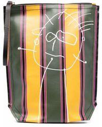 Plan C Textured Stripe-print Clutch Bag - Green