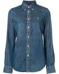 Polo Ralph Lauren Geborduurd Denim Shirt Met Logo - Blauw