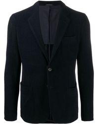Giorgio Armani ヘリンボーン シングルジャケット - ブルー