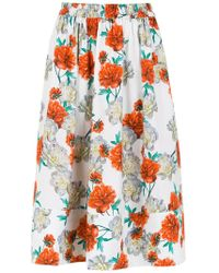 Andrea Marques - Printed Midi Skirt - Lyst