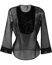 Armani - Three-quarters Sleeve Sheer Blouse - Lyst