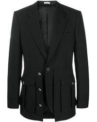 Alexander McQueen ボタン シングルジャケット - ブラック