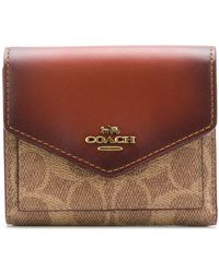 COACH Signature Canvas Small Wallet - ブラウン