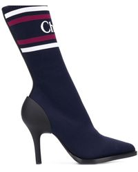 Chloé Ankle Boot Tracy Sock Technical Knit Navy - Blue