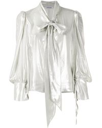 Parlor Metallic Pussy-bow Blouse