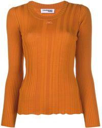 Courreges Long Sleeved Ribbed Logo Top - Orange