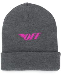 Off-White c/o Virgil Abloh Embroidered Logo Beanie - Grey