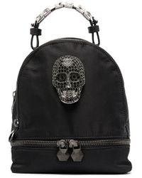Philipp Plein Mini Crystal Skull Backpack - Black